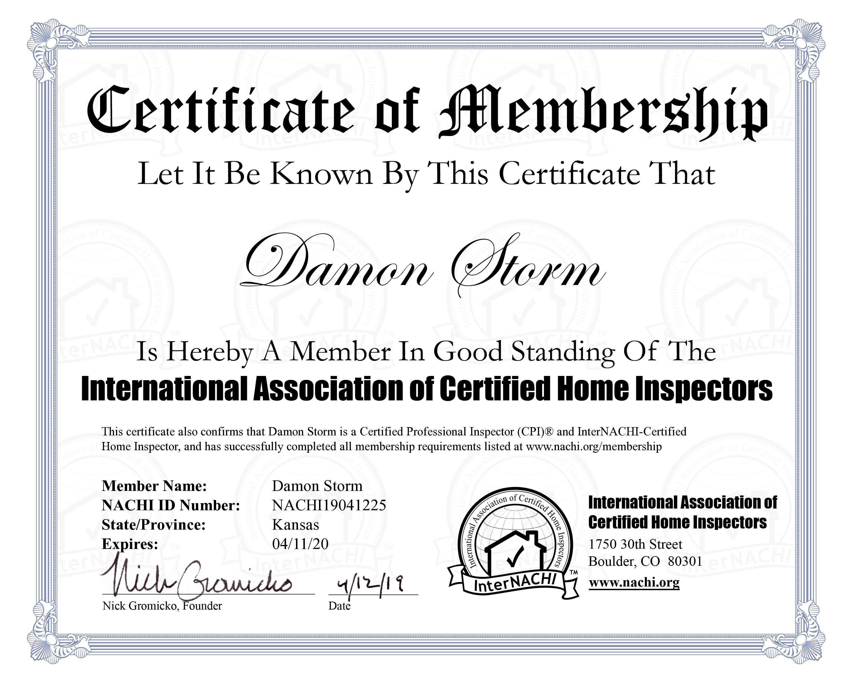 Dstorm3 certificate cpi