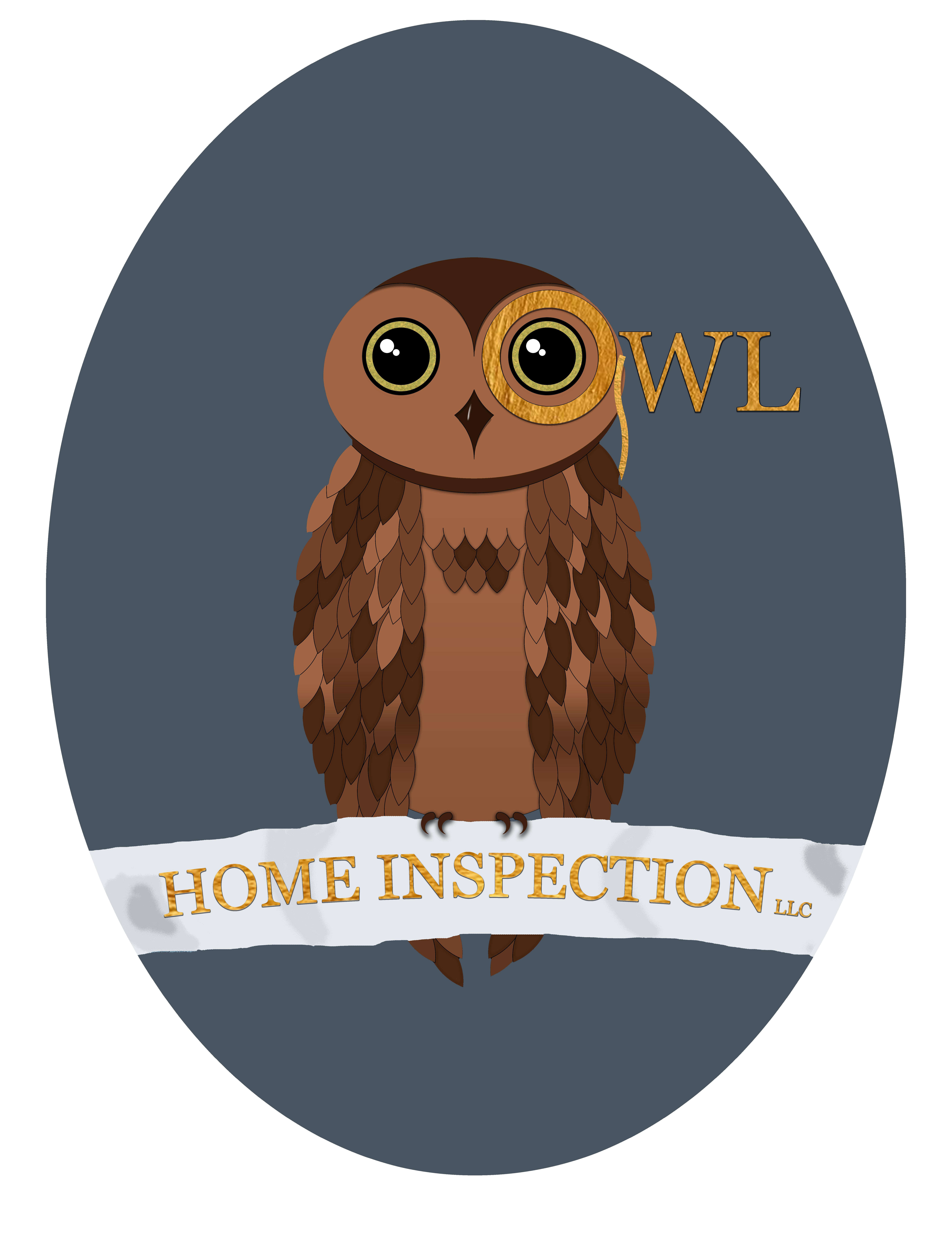 Owl home inspection logo oval